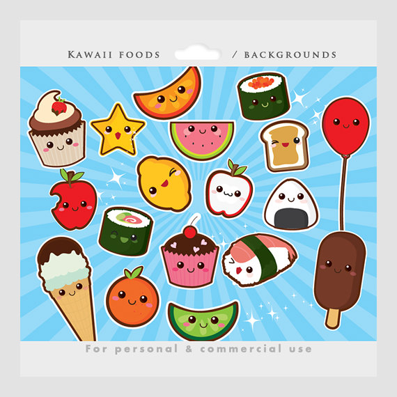 Anime food clipart banner freeuse library Cute food clipart - kawaii clip art, Japanese cute, sushi, fruit ... banner freeuse library