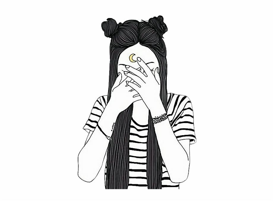 Anime girl tumblr clipart black and white download Moon Girl Outline Tumblr Icon Girl Tumblr Png - Clip Art Library black and white download