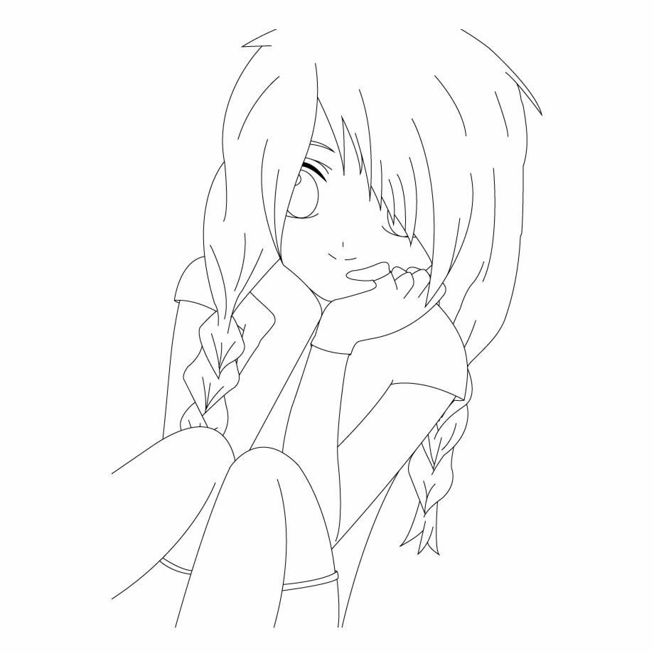 Anime lineart clipart clipart freeuse download Boy Lineart - Line Art Girl Anime Png Free PNG Images & Clipart ... clipart freeuse download