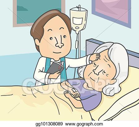 Anionting clipart png library download Vector Art - Man priest anointing sick senior illustration. Clipart ... png library download