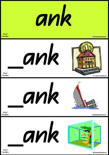 Ank word family clipart black and white library Word Families Short Vowel a black and white library