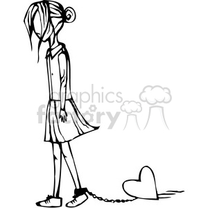 Ankle clipart black and white picture royalty free download girl with a heart chained to her ankle clipart. Royalty-free clipart #  384770 picture royalty free download