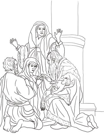 Anna and simeon clipart image library library Simeon and Anna Recognize the Lord in Jesus coloring page | Free ... image library library