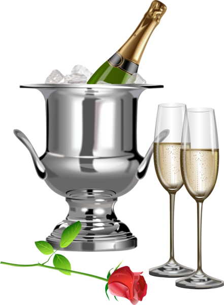 Anniversary wine clipart clipart royalty free Champagne Champagne Flutes and Rose Transparent Clipart | Simplement ... clipart royalty free