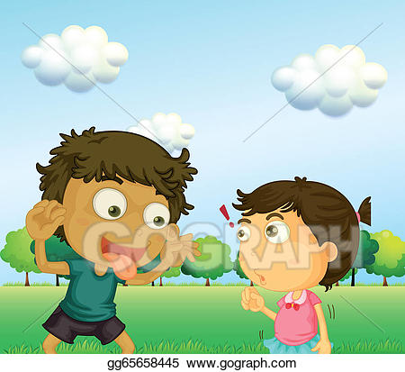Annoying clipart svg free EPS Illustration - A boy annoying a little girl. Vector Clipart ... svg free