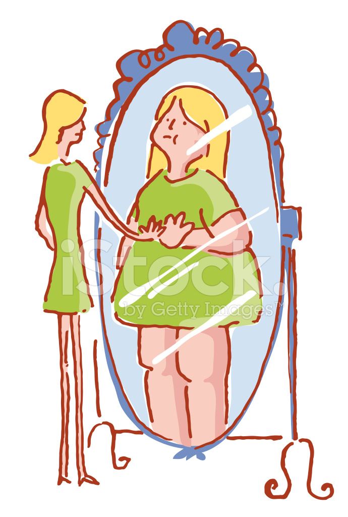 Anorexic girl clipart clip art transparent download Anorexic Woman Seeing Fat IN The Mirror Stock Vector - FreeImages.com clip art transparent download