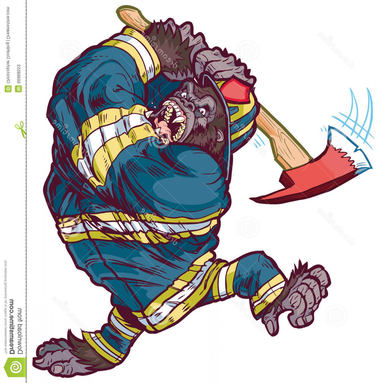 Anry fireman clipart banner transparent library Stock Illustration Angry Cartoon Gorilla Firefighter Swinging Fire ... banner transparent library