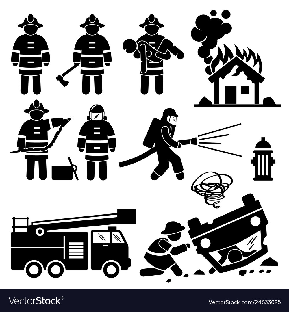 Anry fireman clipart graphic royalty free library Firefighter fireman rescue stick figure pictogram vector image graphic royalty free library