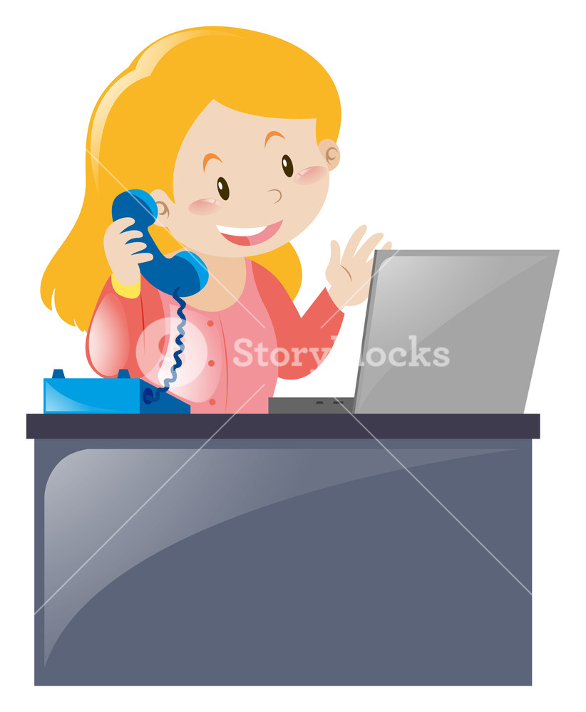 Answering telephone clipart royalty free Office worker answering the phone illustration Royalty-Free Stock ... royalty free