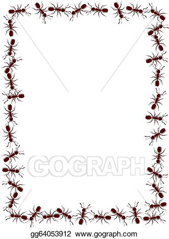 Ant clipart border jpg black and white stock Stock Illustration - Ant frame. Clipart Drawing gg64053912 - GoGraph jpg black and white stock
