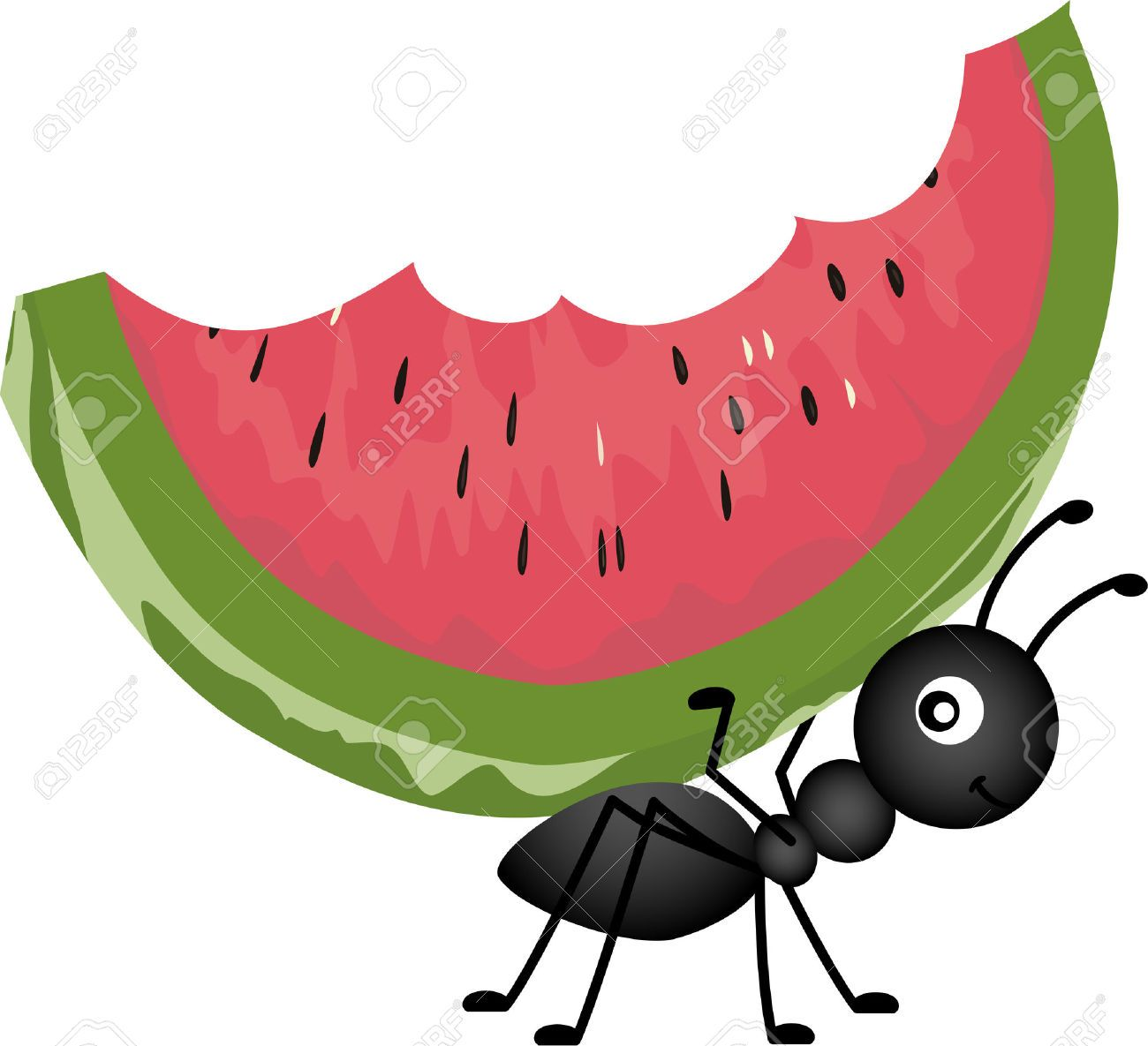 Ant picnic food clipart vector free library picnic food : Ant Carrying Watermelon Illustration | Girly Picnic ... vector free library