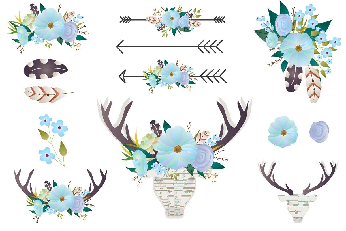 Deer antler with flowers clipart jpg free download Boho Floral clip art - Deer antlers jpg free download