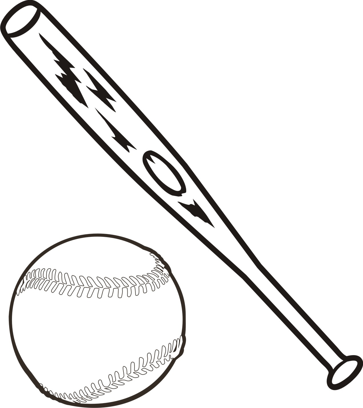 Free baseball bat clipart black and white