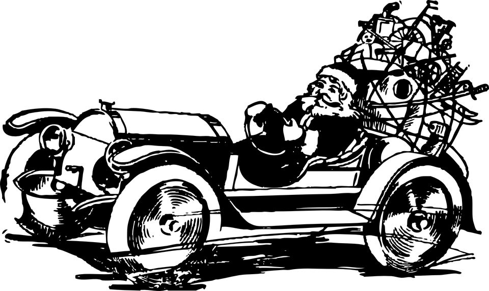 Antique car clipart clipart freeuse Santa Claus Car Clipart transparent PNG - StickPNG clipart freeuse