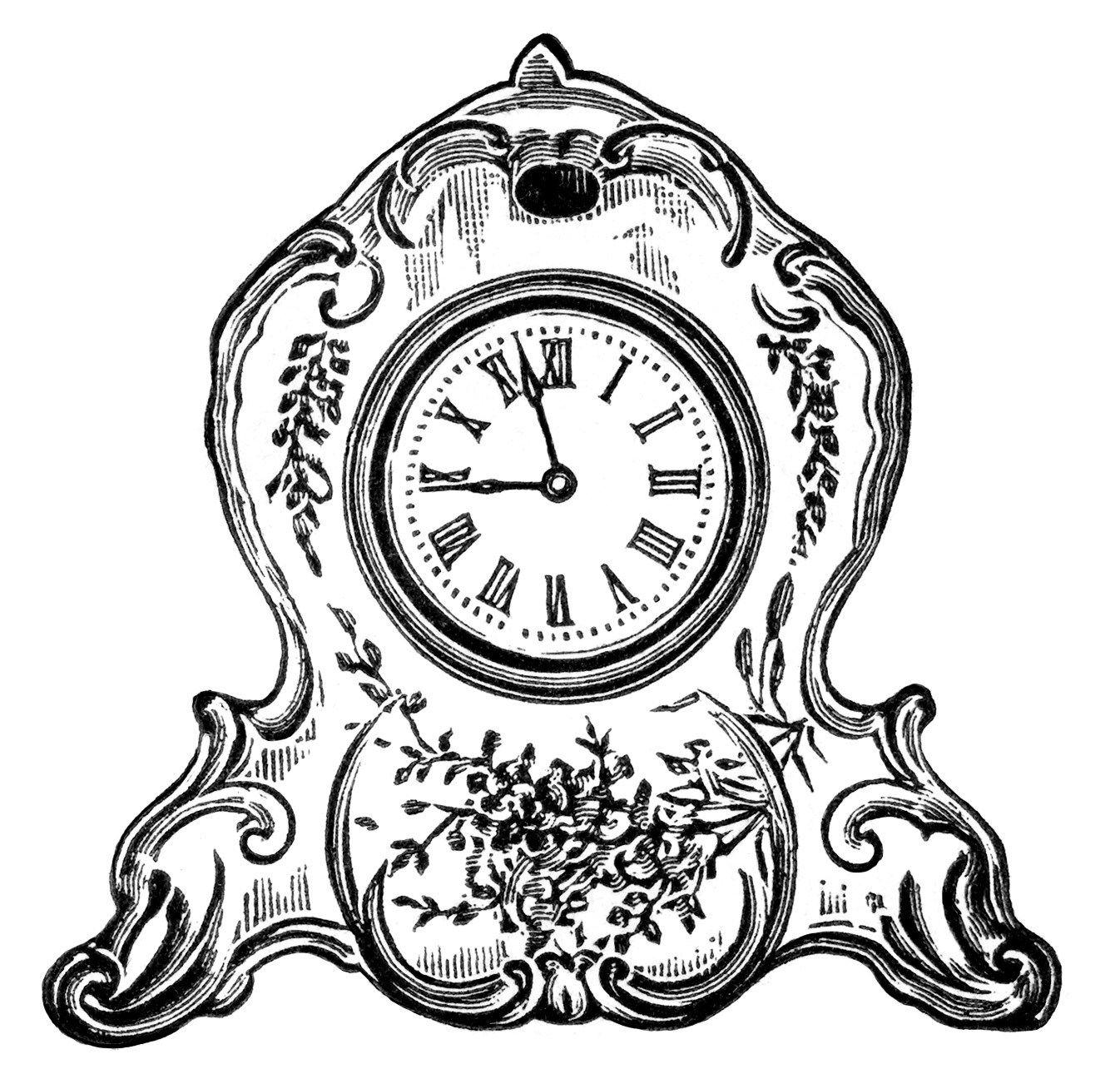 Antique clock clipart picture freeuse vintage clock clipart, black and white clip art, decorated porcelain ... picture freeuse