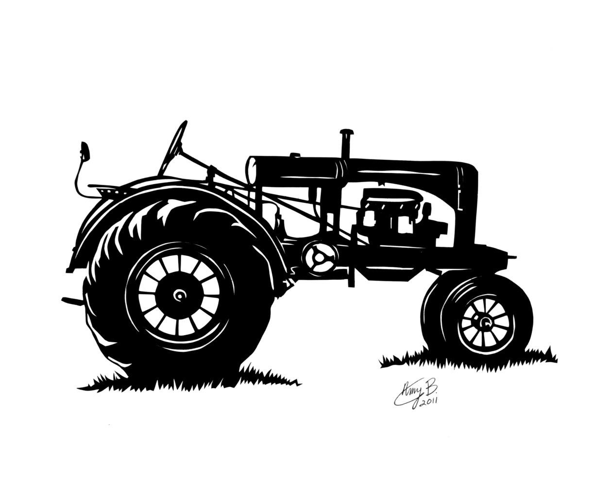 Antique farm machinary clipart black and white Tractor Silhoutte | Papercutting | Tractor silhouette, Tractors ... black and white