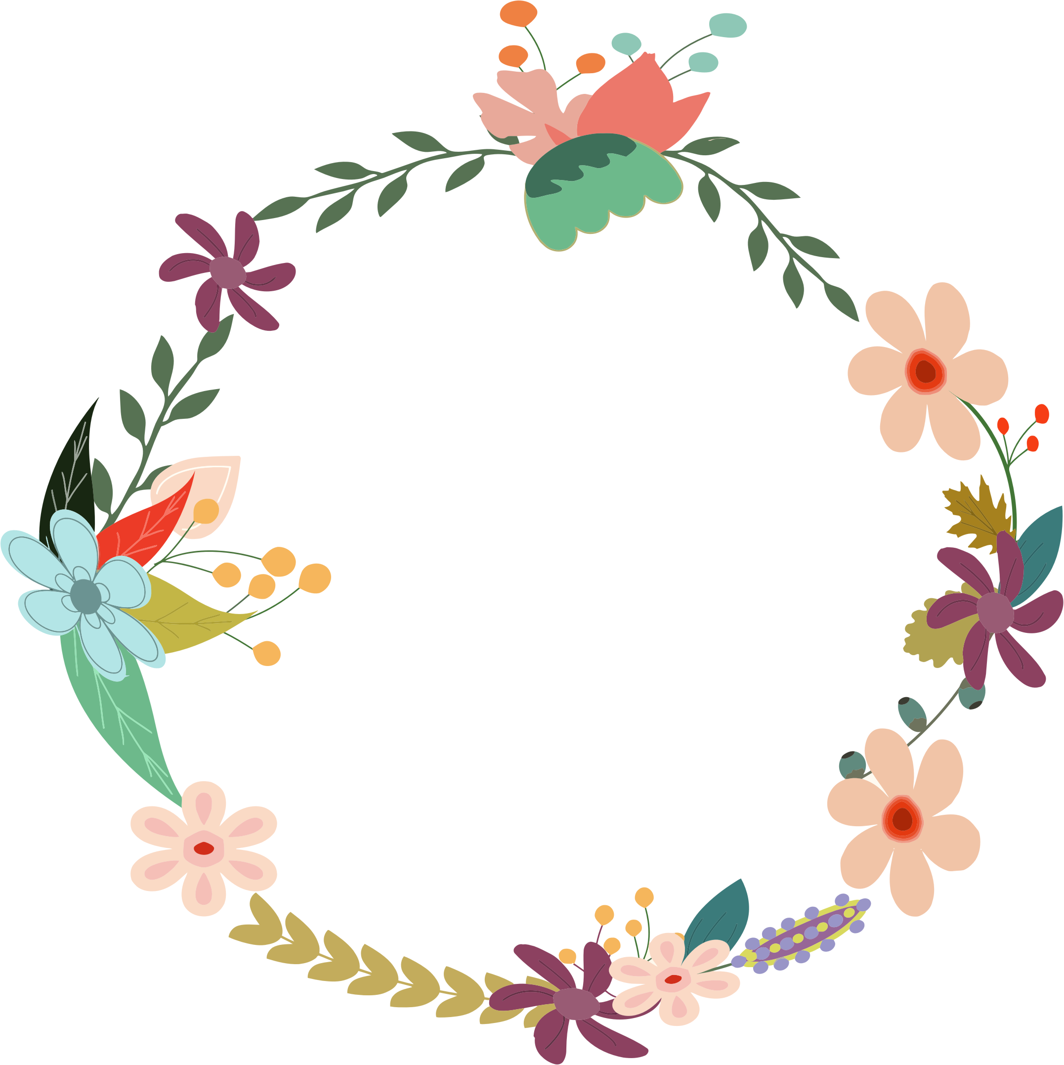 Retro flower clipart jpg freeuse download Vintage Floral Wreath by @GDJ, From PDP, with love., on @openclipart ... jpg freeuse download
