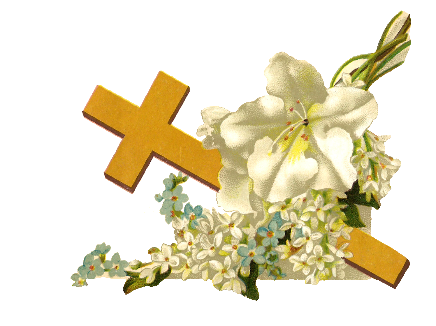 Cross with greenery clipart picture freeuse library Antique Images: Free Religious Clip Art: Gold Cross and White ... picture freeuse library
