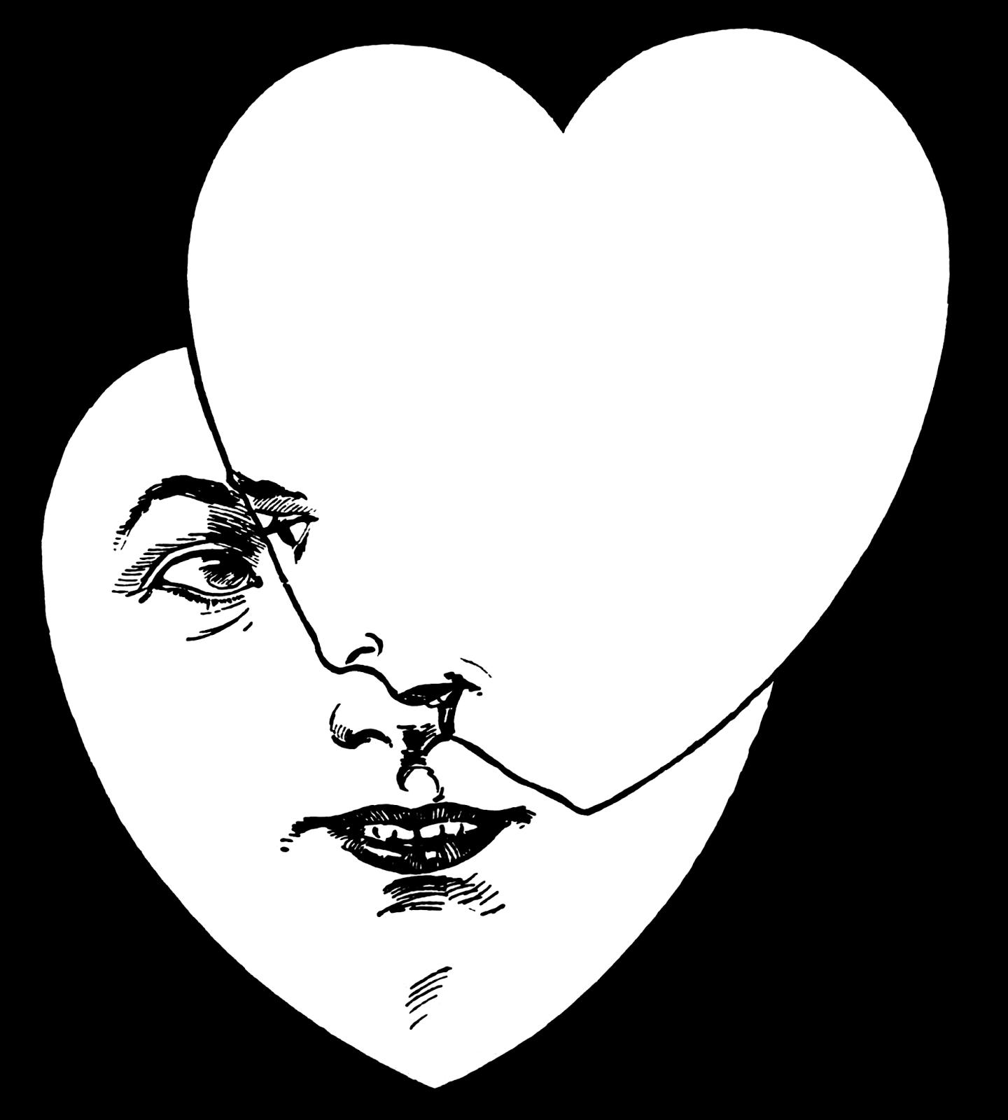 Valentines heart clipart black and white black and white Vintage Snips and Clips black and white