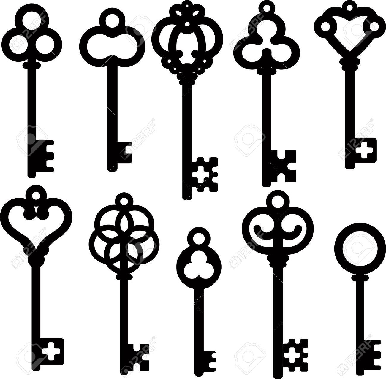 Sleleton key clipart clip art black and white library Stock Vector | LET\'S ALL CUT | Key drawings, Key design, Antique keys clip art black and white library