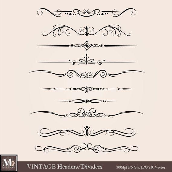 Antique lines clipart svg stock VINTAGE Header Clip Art: Vintage Accent Clipart Design Elements ... svg stock