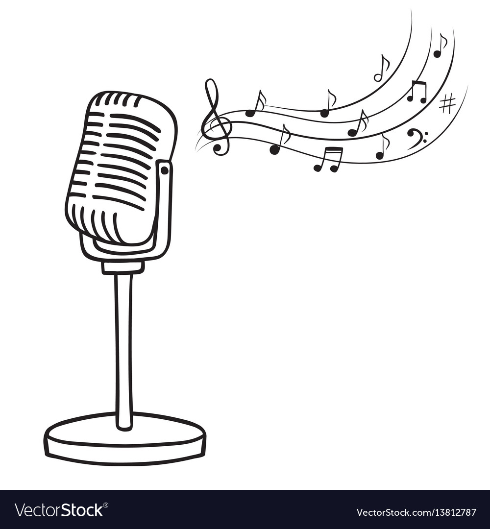 Antique microphone clipart image free Old microphone and music notes hand drawn image free