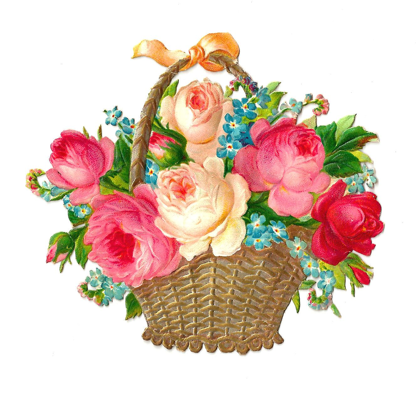 Antique nosegay clipart free image royalty free download Antique Images: Free Flower Clip Art: Vintage Pink and Red Rose ... image royalty free download
