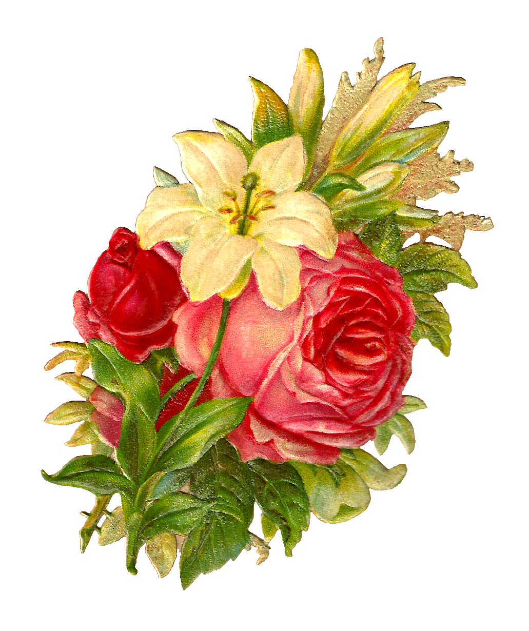 Antique nosegay clipart free picture freeuse Antique Images: Free Digital Flower Bouquet Images of Red and Pink ... picture freeuse
