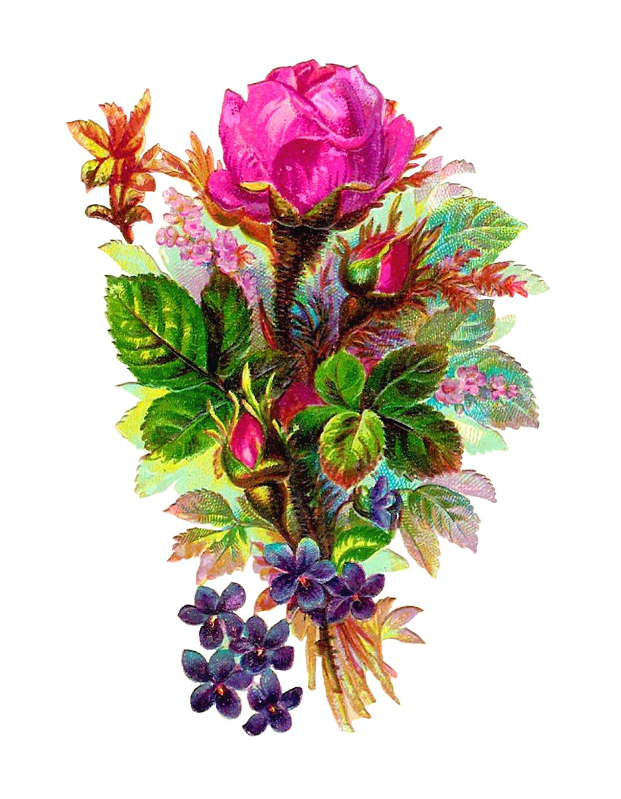 Clipart flower bouquet peach and green graphic stock Antique Images: Vintage Digital Flower Clip Art Pink Rose Bouquet ... graphic stock