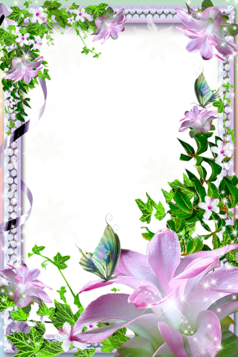 Antique purple flower clipart image Beautiful Transparent Photo Frame with Flowers | タグ | Pinterest ... image