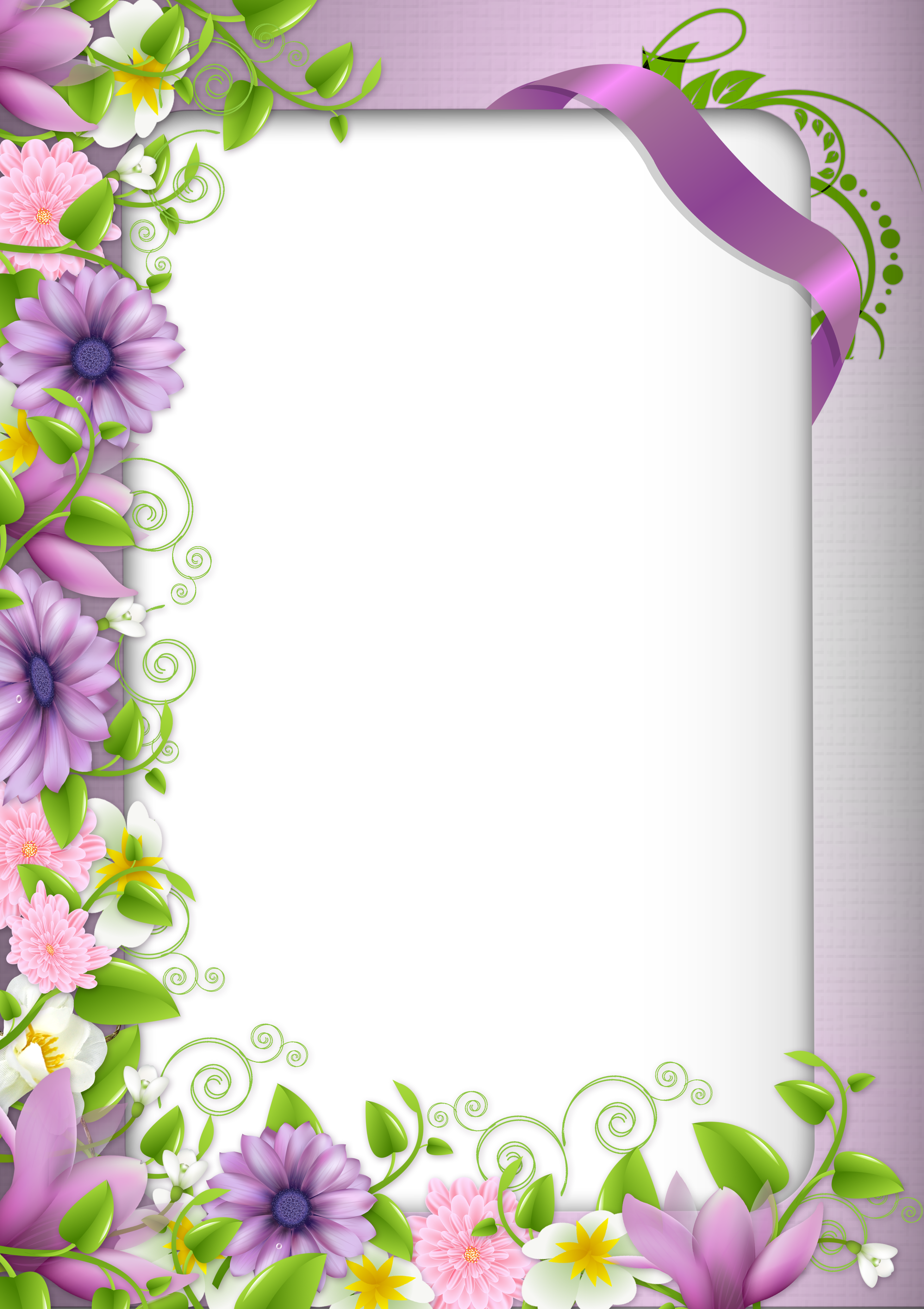 Flower with cross border clipart royalty free Transparent PNG Photo Frame with Purple Flowers | Bordered Paper ... royalty free