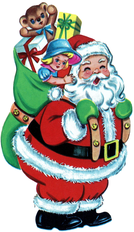 Vintage3 christmas toys clipart image freeuse download 9 Free Vintage Clip Art - Santa, Santa, Santa! - The Graphics Fairy image freeuse download