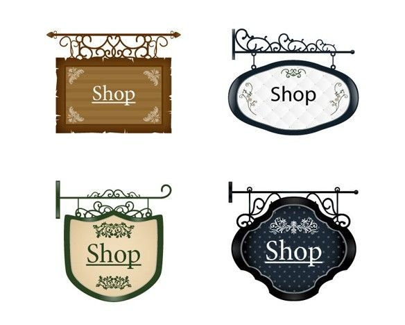 Antique shop sign clipart graphic royalty free XOO Plate :: 4 Quaint Vintage Hanging Shop Signs Set - 4 Vintage ... graphic royalty free