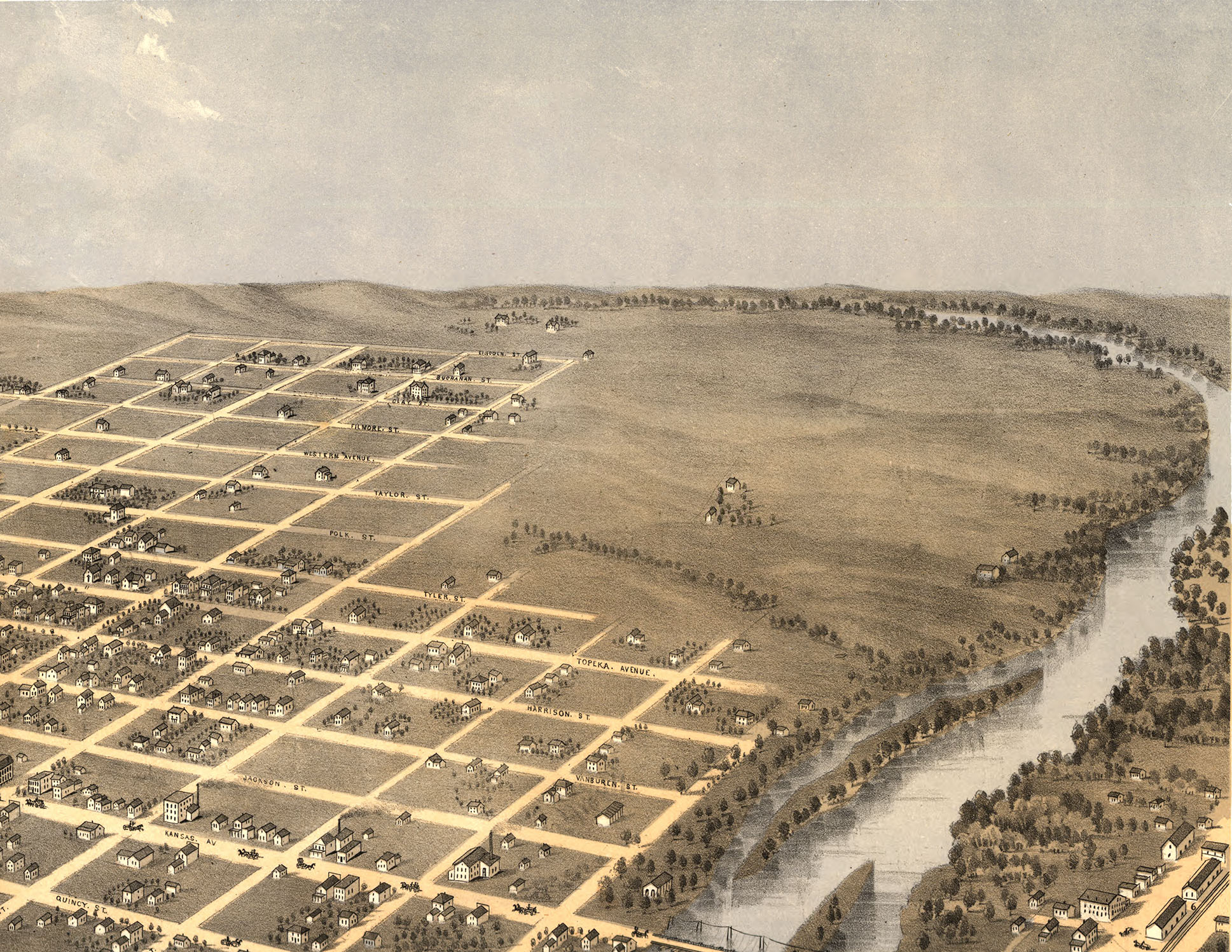 Antique topeka clipart banner library download Topeka, Kansas in 1869 - Bird\'s Eye View Map, Aerial Map, Panorama, Vintage  map, Antique map, Reproduction, Giclée, Framable map, Fine Art banner library download