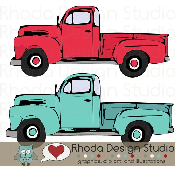 Antique truck rear facing clipart free library Red and Mint Vintage Pickup Truck Full Side Stamp Digital Clip Art ... free library