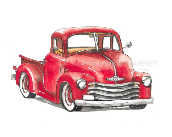 Antique truck rear facing clipart picture library download Vintage Chevy Truck - 8x10\
