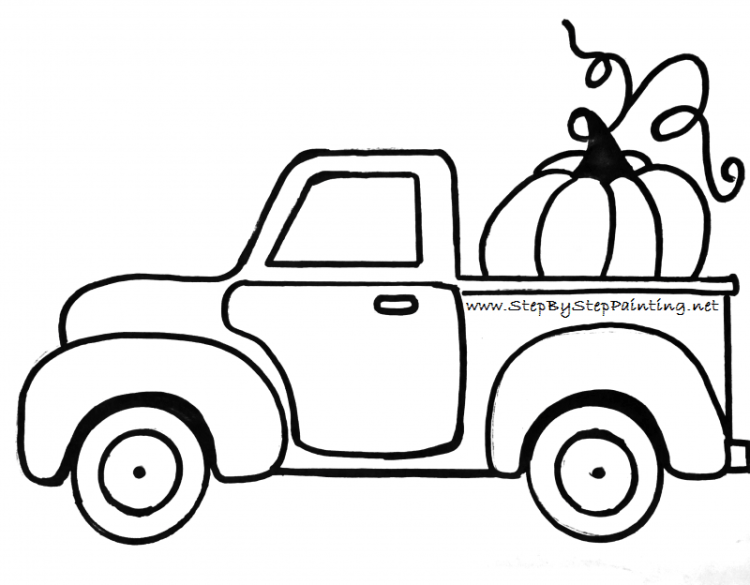 Antique truck rear facing clipart svg royalty free stock How To Paint A Vintage Pumpkin Truck - Step By Step Painting svg royalty free stock