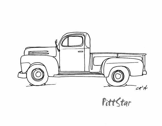 Antique truck rear facing clipart clip art transparent download Instant Download - Vintage 1940\'s Pickup Truck - Printable Coloring ... clip art transparent download
