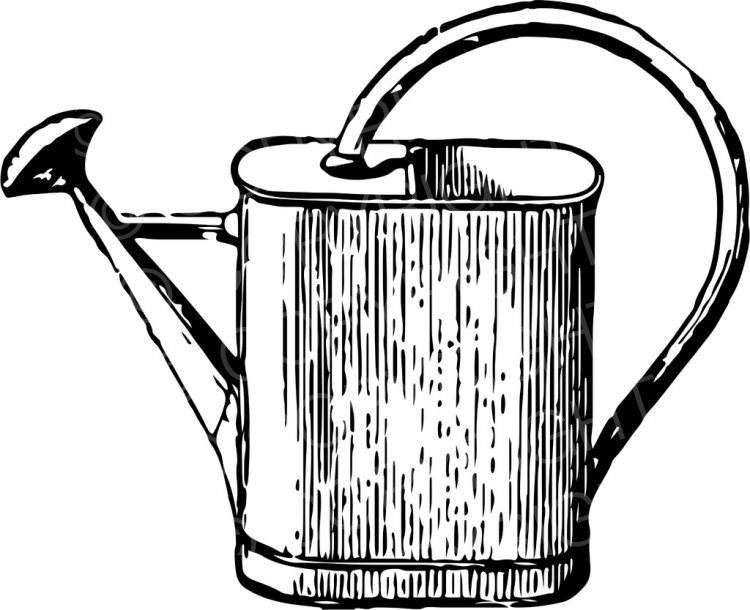 Watering can clipart black and white free