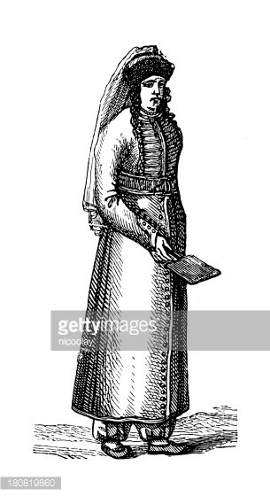 Antique woman clipart royalty free download Circassian Woman (antique Wood Engraving) premium clipart ... royalty free download