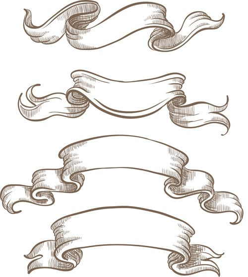 Banners vintage vector clipart graphic black and white stock Hand drawn vintage ribbon benner vector 06 | Graphic | Banner ... graphic black and white stock