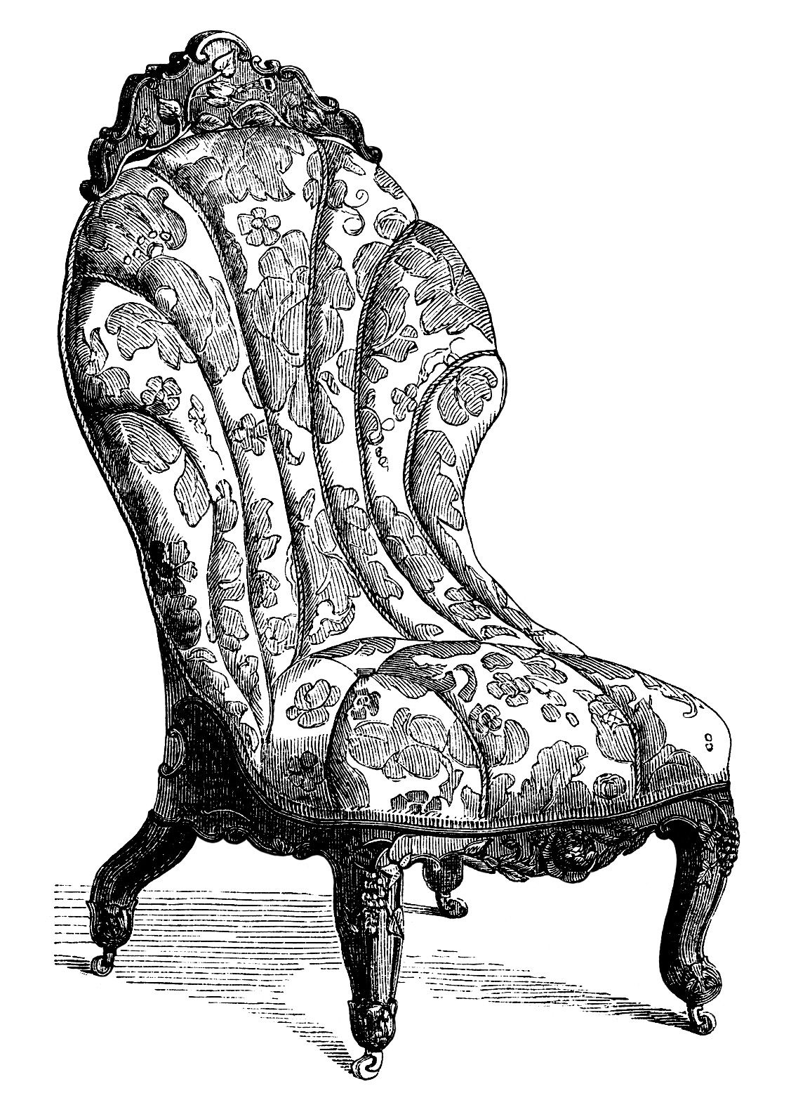 Antiques furniture clipart vector free library Victorian furniture clip art, vintage couch set, living room sofa ... vector free library