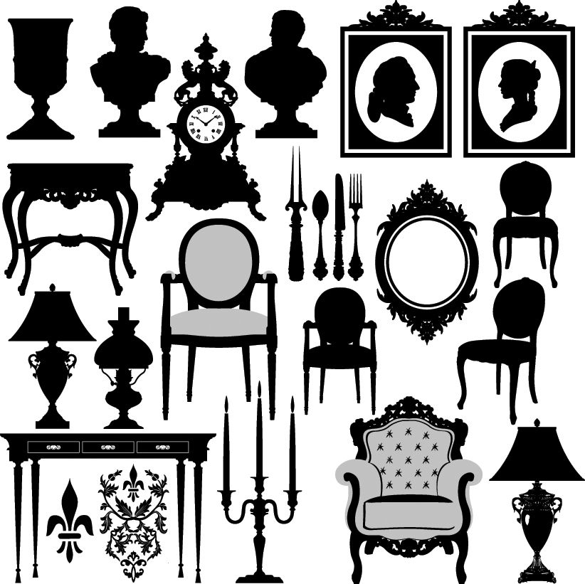 Antiques furniture clipart banner transparent stock free vector Antique furniture black and white silhouette 02 vector ... banner transparent stock