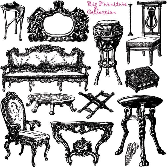 Antiques furniture clipart image free library Antique furniture handpainted pattern vector Free vector in ... image free library