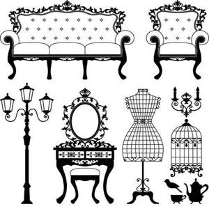 Antiques furniture clipart vector freeuse Photo Frame Wallpapers: Antique Furniture Vector vector freeuse