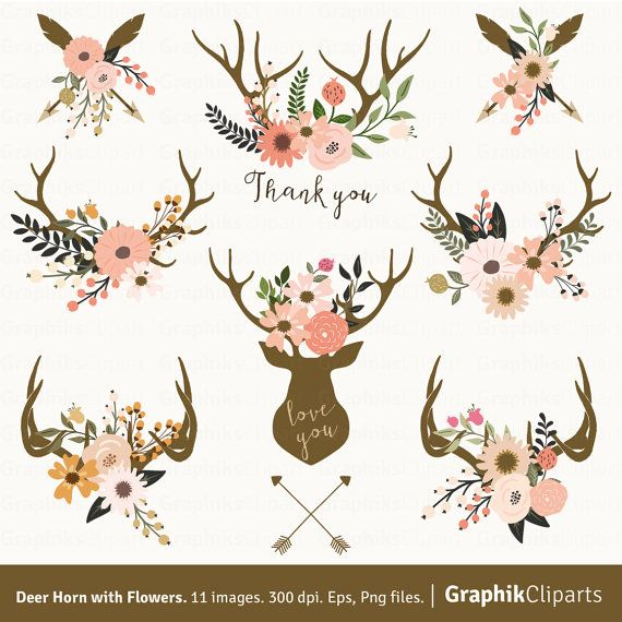 Antler and cotton clipart clip art transparent Deer Horn with Flowers. Antler with Flower, Boho, Flower Clipart ... clip art transparent