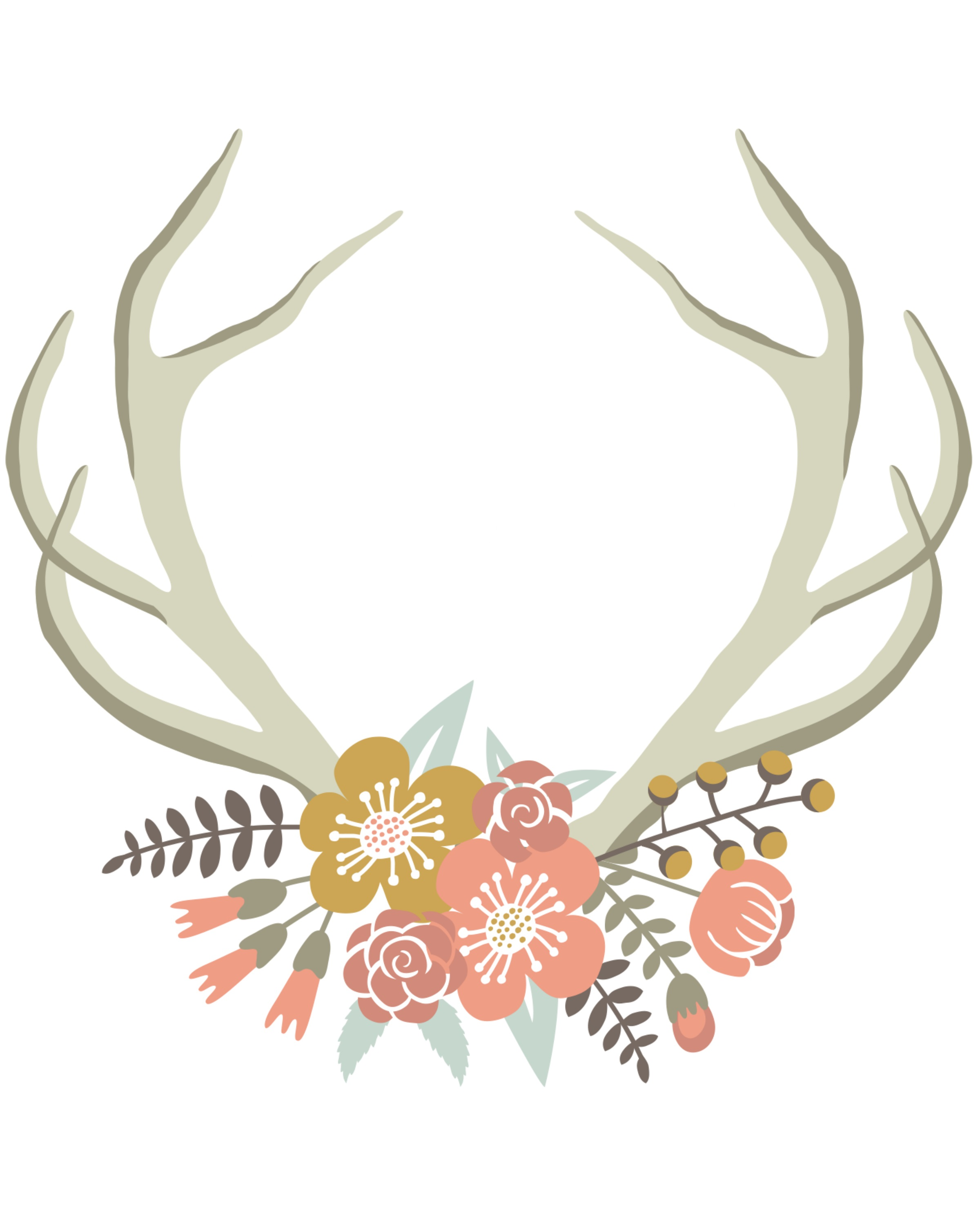 Antler clipart free clip black and white stock Free Flower Antler Cliparts, Download Free Clip Art, Free Clip Art ... clip black and white stock