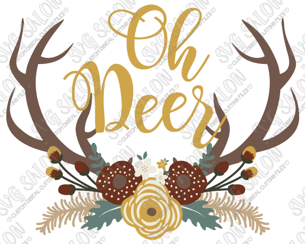 Antler clipart svg svg royalty free download Oh Deer Floral Swag Antlers Custom DIY Vinyl Mug Decal Cutting File /  Printable Clipart in SVG, EPS, DXF, JPEG, and PNG Format svg royalty free download
