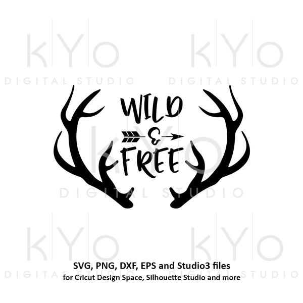 Antler clipart svg clipart transparent stock Wild and Free svg Deer Antler svg Hunting svg Hand Lettered svg Printable  wall art Printable quotes svg files for Cricut Silhouette clipart transparent stock