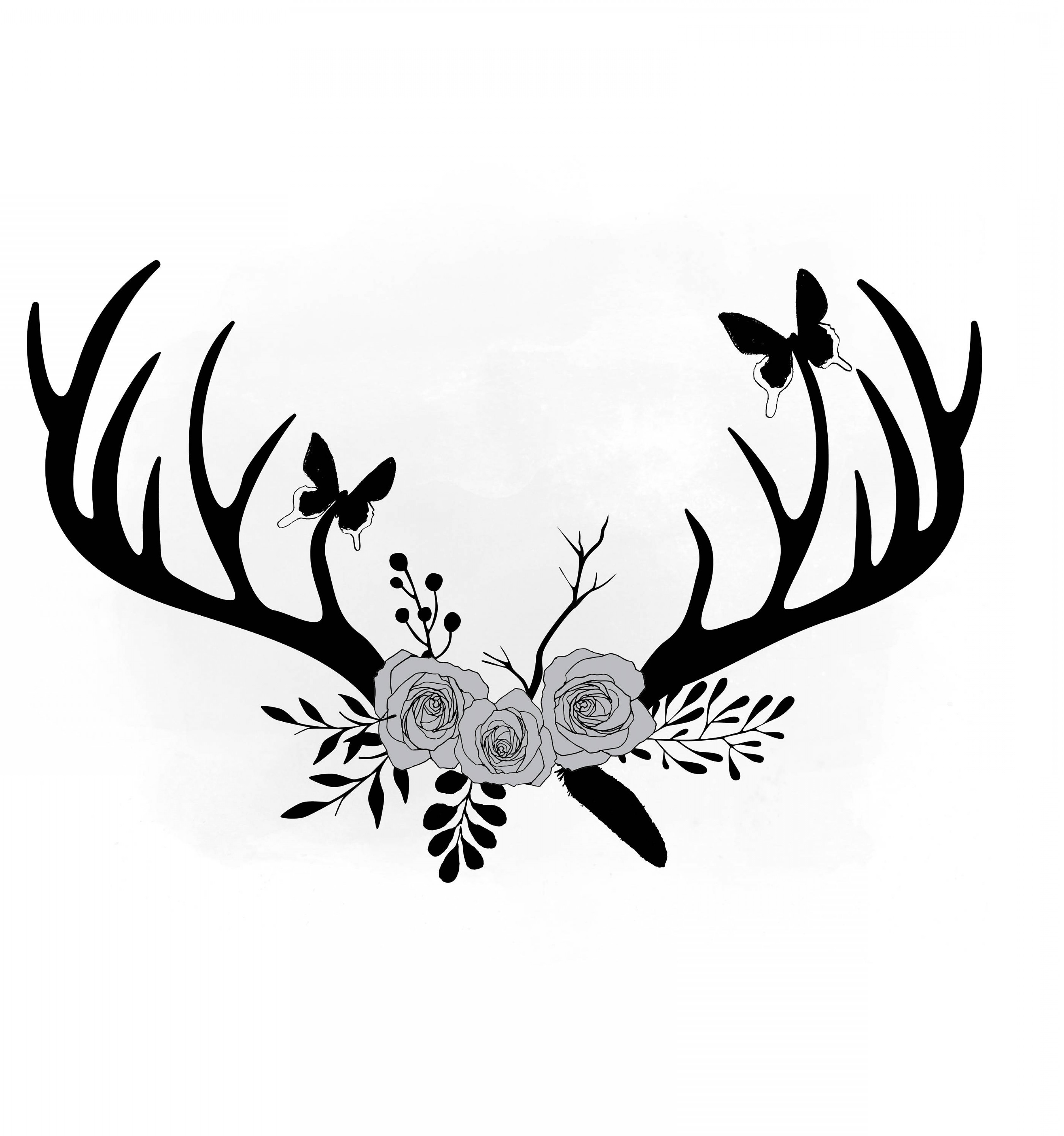 Antler clipart svg png library stock Floral Antlers Svg Clipart Antler Flower | GeekChicPro png library stock